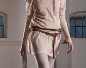S A M P L E   S A L E  Fine Knit V Neck Drop Waist Mini Dress / Jewel Neck Long Sleeved Bodycon Dress