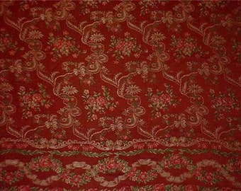 Sale Antique Vintage European Silk Brocade Fabric Tapestry Panel or Bed Coverlet Roses and Ribbon