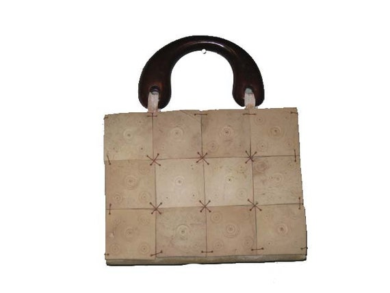 Vintage Natural Tan Bamboo Tiles Geometric Handbag Purse