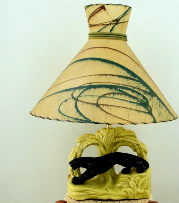 Vintage Art Deco Lamp Fiber Glass Lamp Shade  Black Tiger Lamp Base