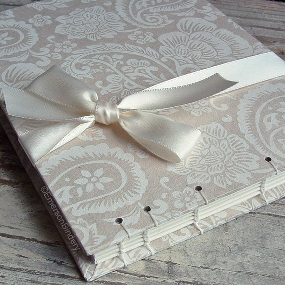 Wedding Guest Book, Ivory and White Paisley, Select a Size, MADE upon ORDER