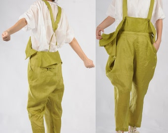 green linen cotton harem pants wide legs pants long pants