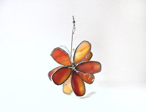 Orange flower stained glass suncatcher, modern window decor, home decor, window art, window decoration, handcrafted