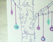 Letterpress Christmas Holiday Card - Bouleau Noel