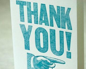 SALE - Letterpress Thank You Card - Wood Type