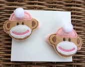 Sock Monkey Hair Clips Set of Two in Pink, Felt Hair Clips, Girls Hair Clips