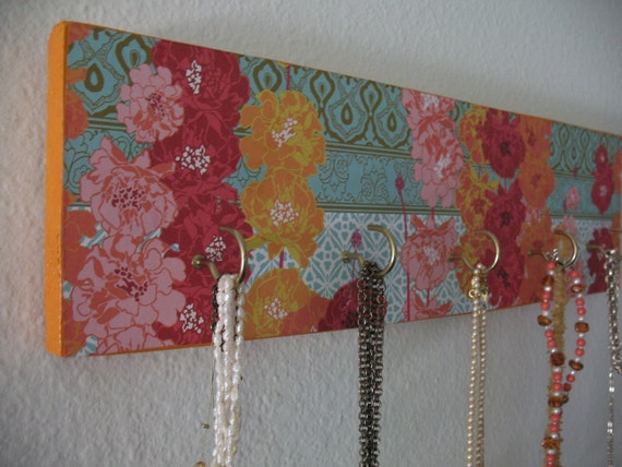 Jewelry Key Holder Wall Decor Wood Bright Floral