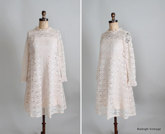 RESERVED...Vintage 1960s Wedding Dress : 60s MOD Ivory Lace Wedding Dress