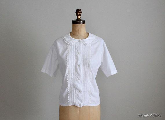 Vintage1960s Blouse : 50s 60s White Mad Men Shirt