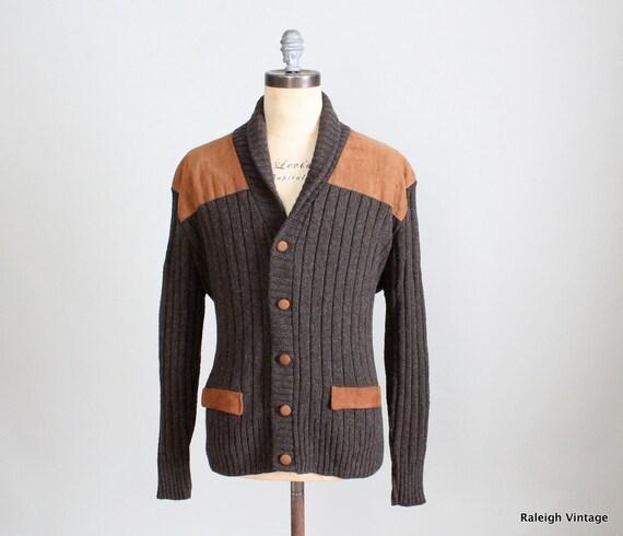 Vintage 1960s MENS Cardigan : 60s 70s Shawl Collar Cardigan