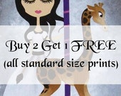 Buy 2 Get 1 FREE Art Print Sale - Girls Art Illustrations Whimsical Art Prints