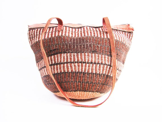 Vintage Sisal and Brown Leather Woven Market Bag