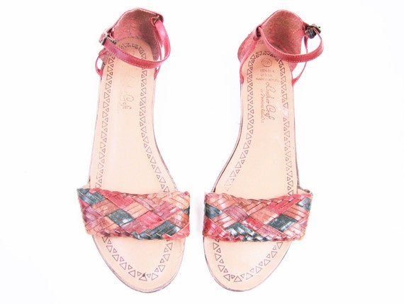 Vintage Red Leather Woven Color Block Sandals Size 9.5