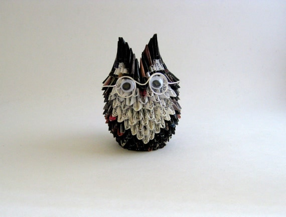 Granny Owl Origami Sculpture with Round Glasses
