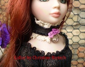 Gothic Metal and Roses Collar for Ellowyne Wilde and Delilah Noir Handmade