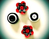 4 Pc Set of Magnets, Button & Flowers