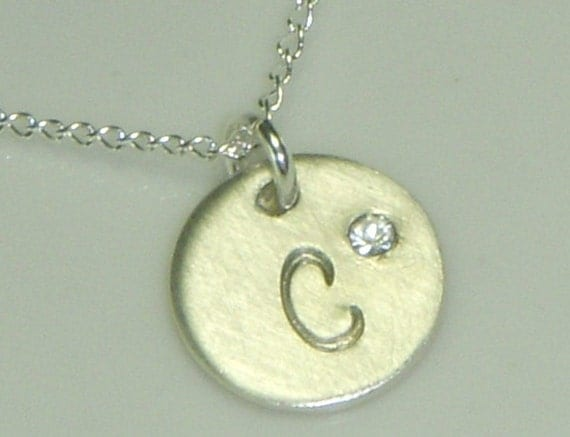 Cursive Monogram Print-Sterling Silver Initial Necklace adorned with a Tiny Embedded Swarovski Crystal