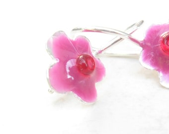 Girls Earrings Sterling Silver  Little Flower with Purple- Pink resin and Red Beads