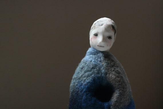 """Felt sculpture 9 """"Small girl in blue"""" handmade Fibre and porcelain sculpture"""