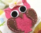 Handmade felt snap hair clip - baby owl (FC-C022-D)