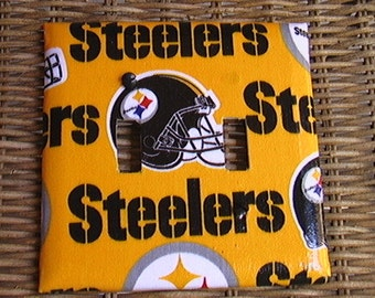Pittsburgh Steelers Set Double Light Switch Cover Plate and 3 Outlets Set includes child safety plugs