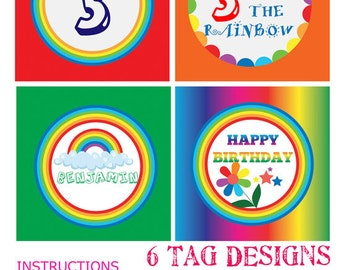 INSTANT DOWNLOAD rainbow birthday party cupcake toppers | Rainbow Party Decoration | Rainbow cupcake toppers | Rainbow party tags