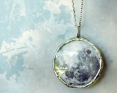 Full Moon Necklace. Oxidized Sterling Silver Chain. Double Sided Small Glass Lens. Full Moon Jewelry