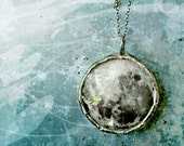 Dark Side of the Moon Necklace. Sterling Silver Chain. Double Sided. Large 1.5 inches Circle. Full Moon Jewelry