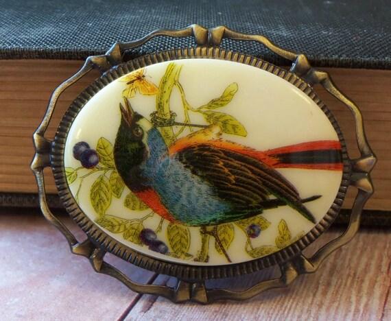 Vintage Bird Brooch - Vintage Cameo Pendant Brooch - Garden Bird Brooch