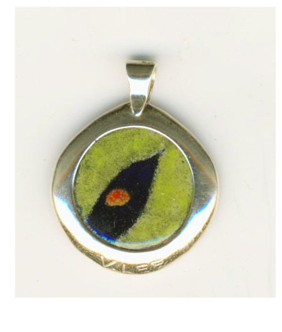 Hand Painted Enamel Jewelry Coin Pendant Black Bird Dime Size