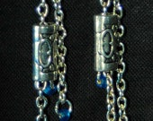 Carved Tibet Sterling Silver and Silver Chain Earrings Jewelry
