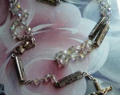 Vintage Clear Crystal Glass Rosary Beads With Italian Religious Medal and Cross