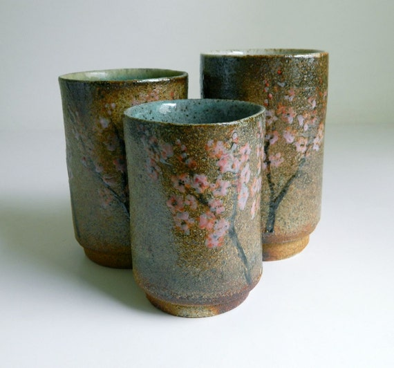 3 Hand-Painted Cups - wood-fired pottery, tumbler