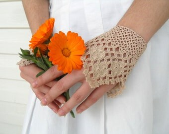 Victorian Gloves,Gothic Gloves, Lace Gloves, Beige Oatmetal, Crocheted Gloves, Pearl Buttons Bridesmaid Gift, Neutral Rustic Shabby Chic