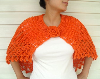 Hand Knitted Shawl, Halloween Gift, Orange Shawl, Orange Poncho, Capelet, Winter Fashion