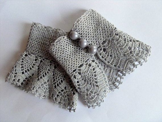 Crochet Gloves : Crochet Gloves Victorian Gloves Gray Lace Gloves Pearl Buttons ...