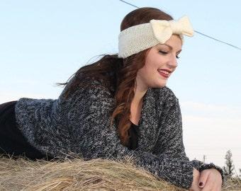 Knit Headband. Knit Earwarmer. Cream Headband. Cream Earwarmer. Big Bow Headband. Vintage Headband. Retro Headband. Made to Order.