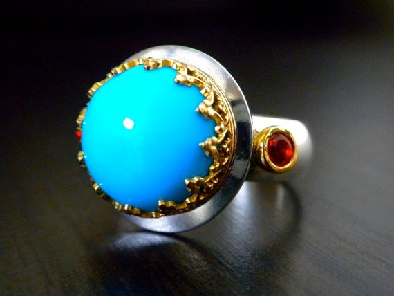 Custome listin For Liz- Ready To Ship - Sleeping Beauty Turquoise Crown Ring. On Sale, 20% Off