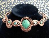 Genuine Turquoise Choker  - Statement Piece - Celtic Southwest Copper Choker, Chrysocolla - Intricate  - Ooak