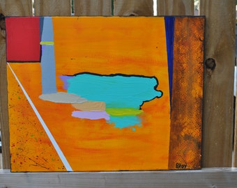 Original Abstract Orange Painting