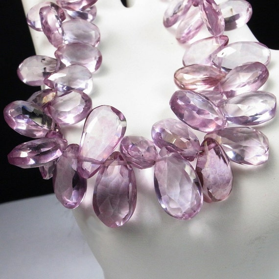 Mystic Pink Quartz Beads Faceted Pears Flat Teardrops Lavender Pink Earth Mined Gemstone 10 Beads about 10x6mm Discounted for Flaws