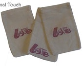 10 3x5 LOVE Unbleached Muslin bags/ pouches - in Red - Great for Party favors Herbs Soaps Jewelry WHOLESALE Packaging Supply