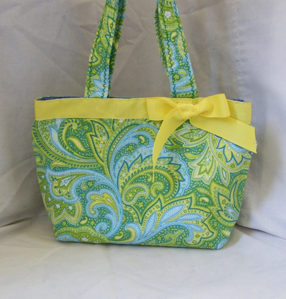 Handmade Little Girls Yellow, Green and Blue Swirl Purse.....Ready to SHIP TODAY