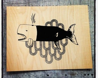 Babette the whale - Screen print on wood veneer // Babette la baleine - Sérigraphie sur placage de bois