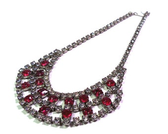 Vintage 1950's Cranberry Red & Crystal Clear Rhinestone Necklace 5 Tiers of Rhinestones WOW