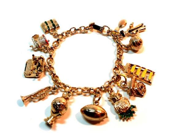 Vintage Gold Tone 1950s Charm Bracelet 12 Charms School Study