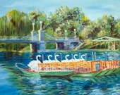 "Swan Boats in Boston's Public Gardens - 11x14"" white-border print of original oil painting"