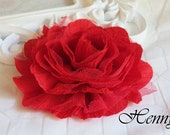 1 pc New Large Shabby Chic Frayed Wrinkled Cotton Voile and Tulle Rose Fabric Flower - Red