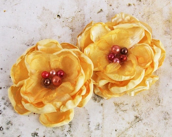 BRAND NEW: Banda Golden Yellow Fabric Flower with Pearl Center Accents