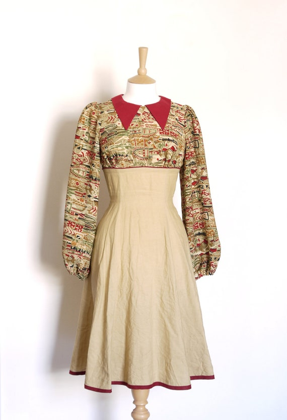 Size Uk 10 (Us 6) & Uk 16 (Us 14) - Camel and Wine Red Aztec Print Tea Dress- Made by Dig For Victory